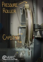 The capstan and pressure roller on a wire braid machine