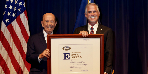 wilbur-ross-and-tim-flynn-presidential-e-star-award-for-exports-presentation-allied-wire-and-cable